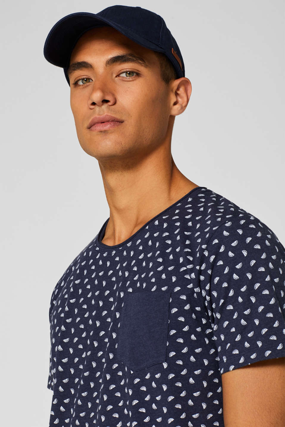 Jersey T-shirt with melon print, NAVY, detail image number 5