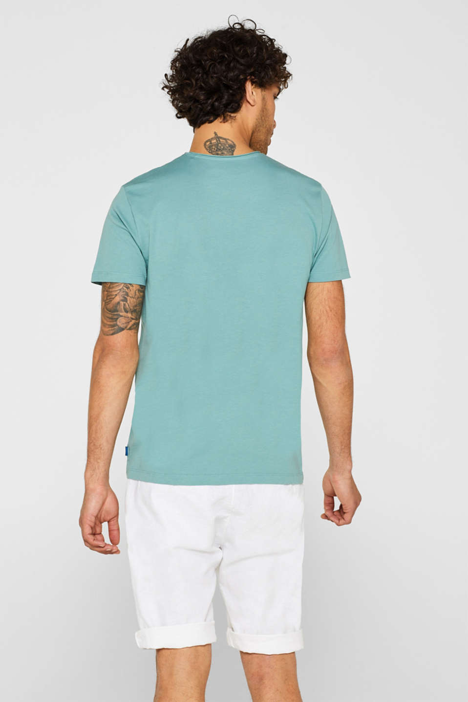 Jersey T-shirt in 100% cotton, DUSTY GREEN, detail image number 3