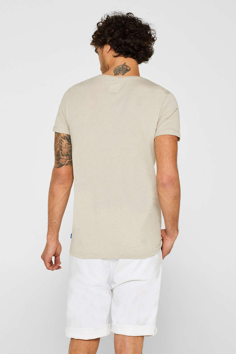 Jersey T-shirt in blended cotton, SAND, detail image number 3