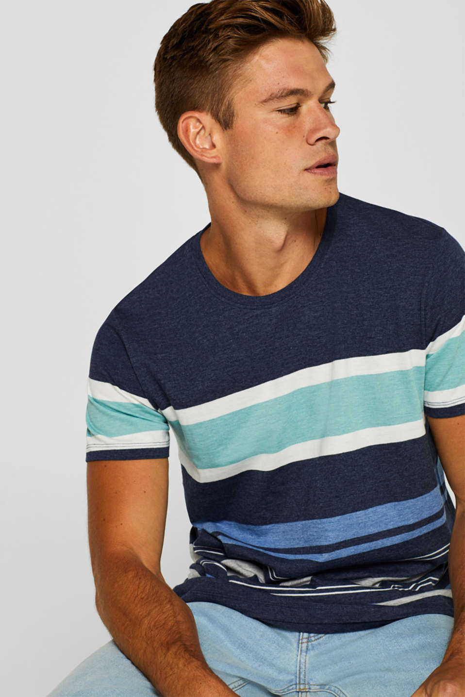 edc - Striped jersey T-shirt in blended cotton