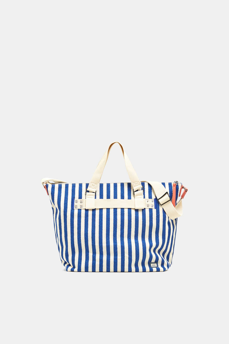 Striped cotton/canvas tote bag, BRIGHT BLUE, detail image number 0
