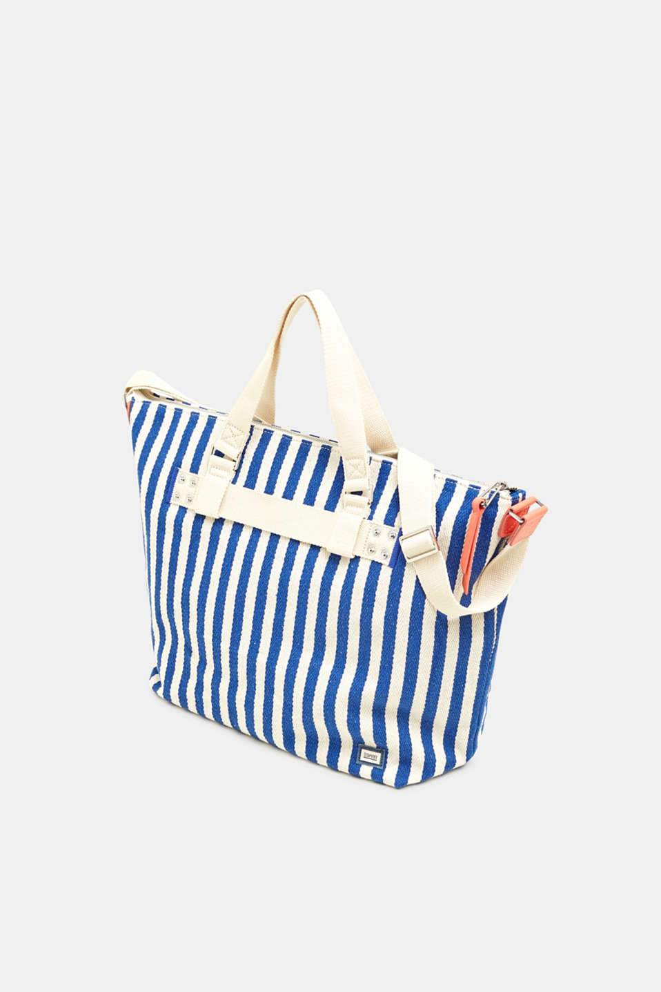 Striped cotton/canvas tote bag, BRIGHT BLUE, detail image number 2