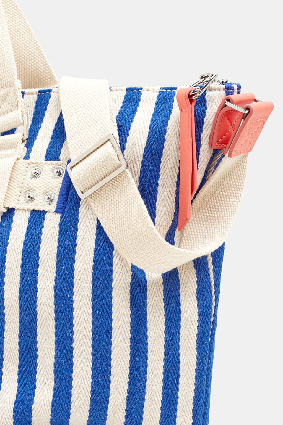 Striped cotton/canvas tote bag, BRIGHT BLUE, detail image number 3