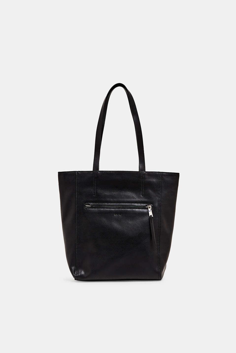 Faux leather shopper, BLACK, detail image number 0