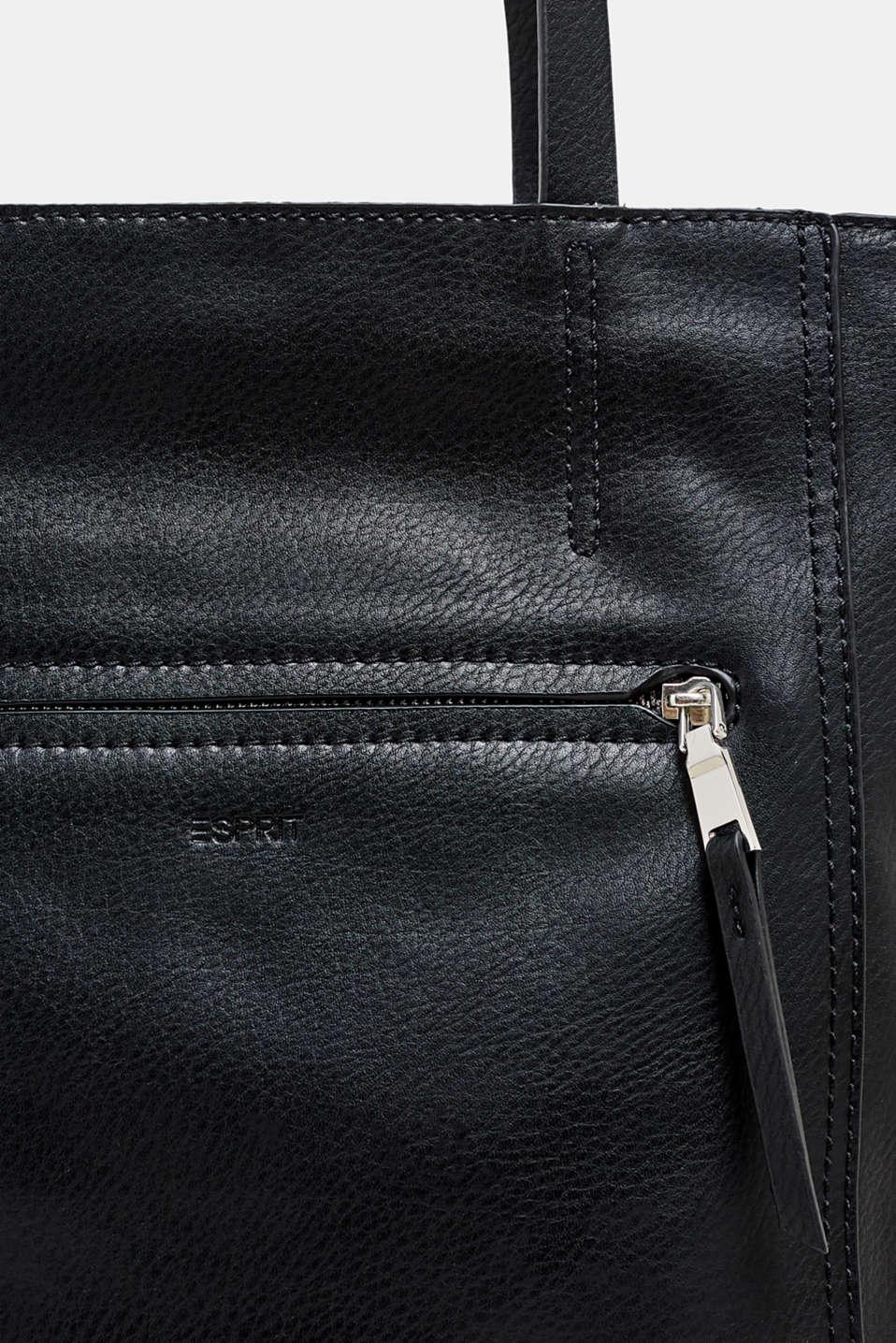 Faux leather shopper, BLACK, detail image number 3