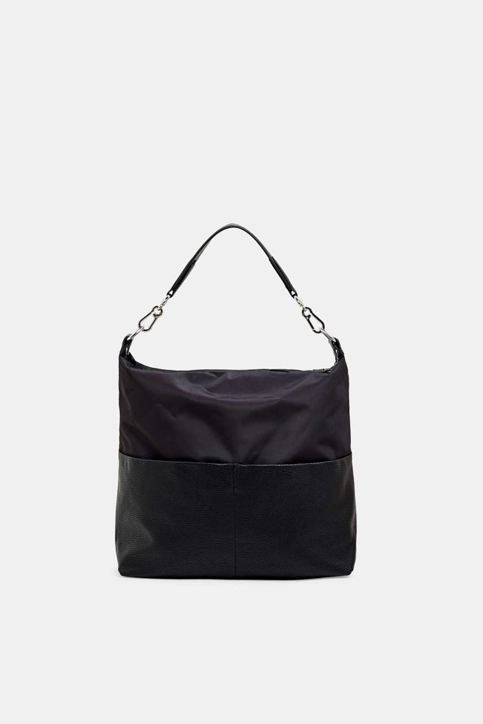 Shoulder bag in a mix of materials, BLACK, detail image number 0