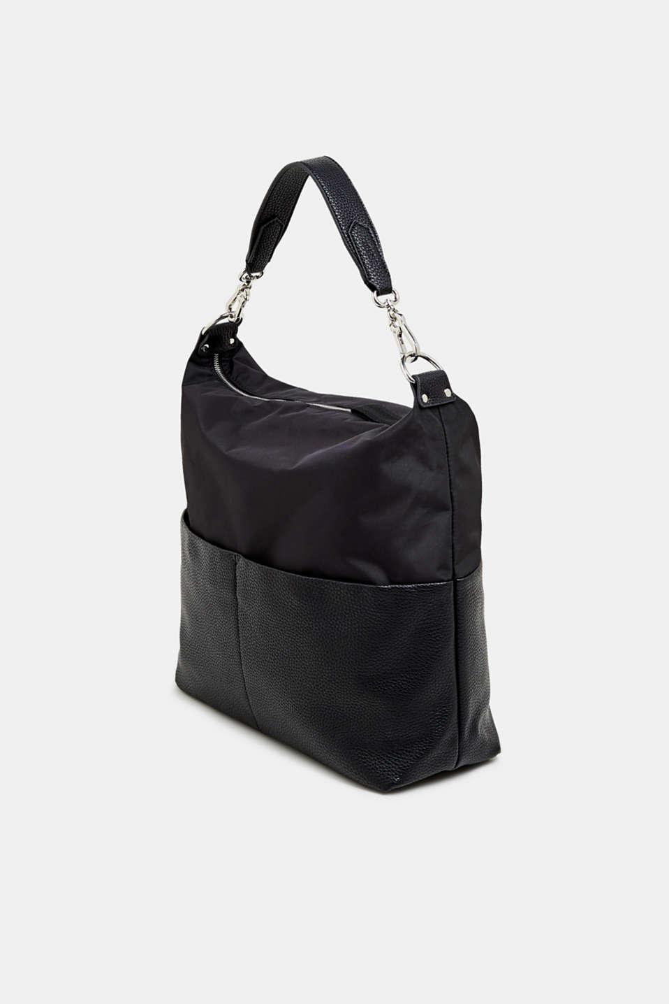 Shoulder bag in a mix of materials, BLACK, detail image number 2
