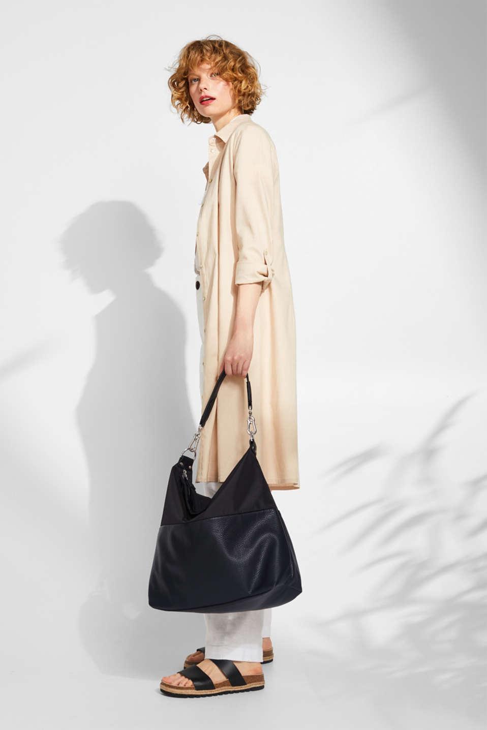 Shoulder bag in a mix of materials, BLACK, detail image number 1