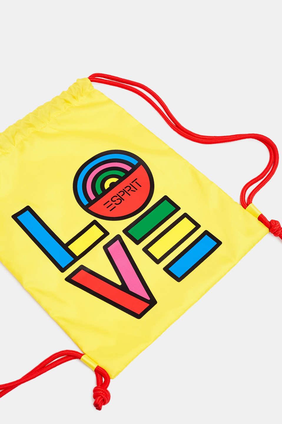 CRAIG & KARL: love print gym bag, BRIGHT YELLOW, detail image number 2