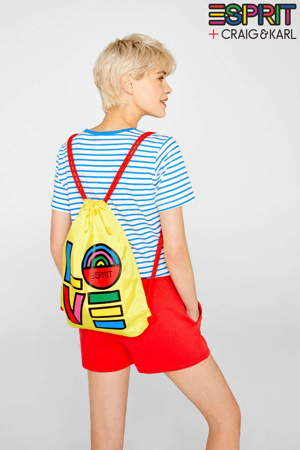 CRAIG & KARL: love print gym bag, BRIGHT YELLOW, detail image number 1