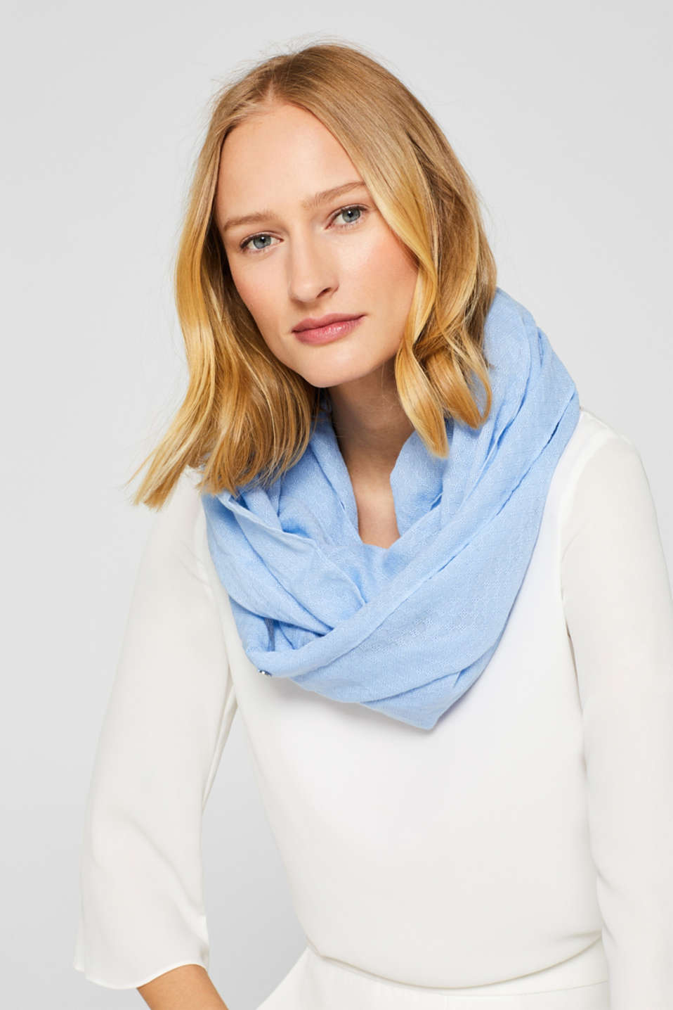Snood with a woven pattern, 100% cotton, LIGHT BLUE, detail image number 1