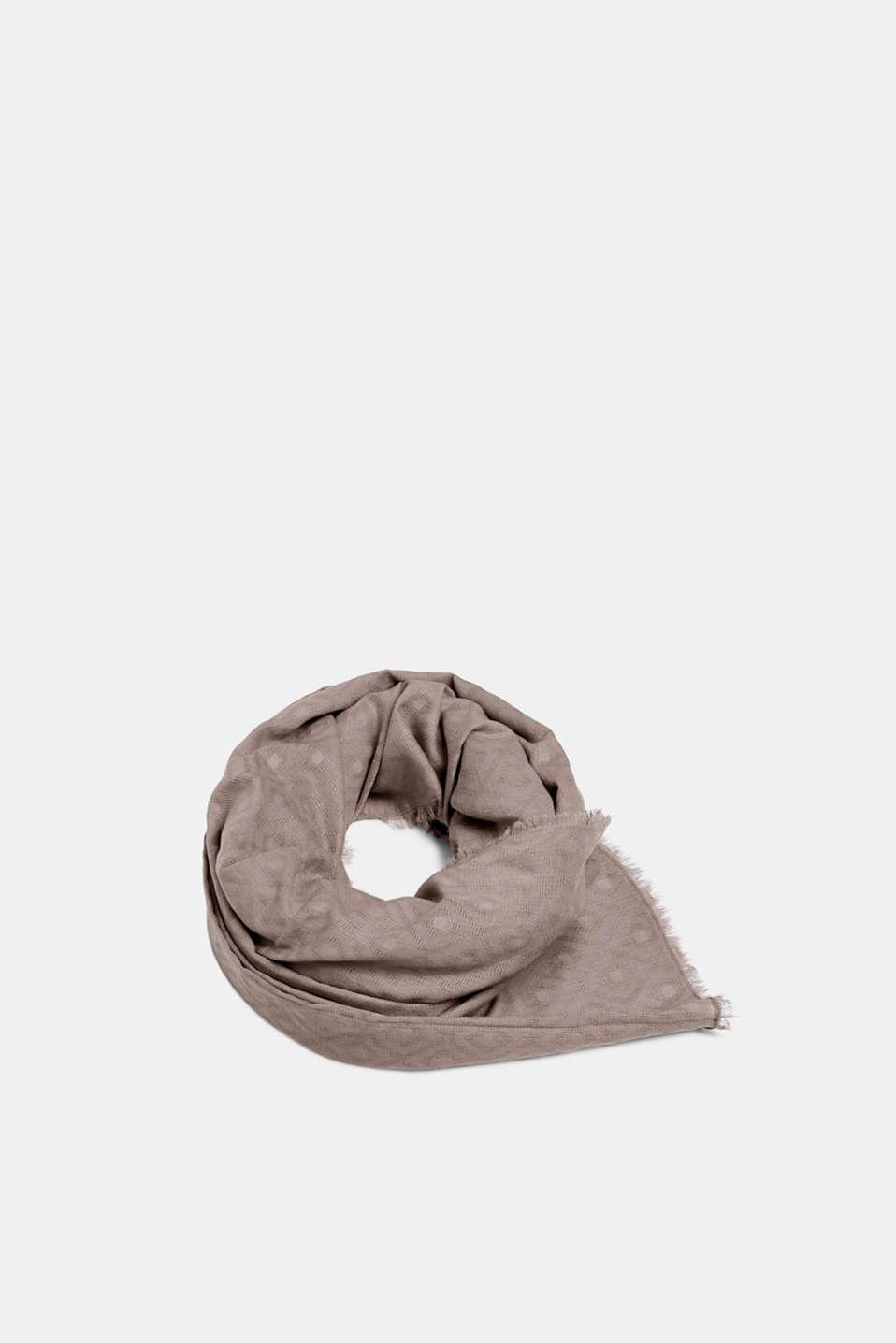 Diamond pattern scarf, 100% cotton, GREY, detail image number 0