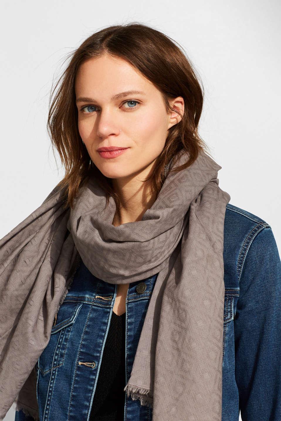 Diamond pattern scarf, 100% cotton, GREY, detail image number 1
