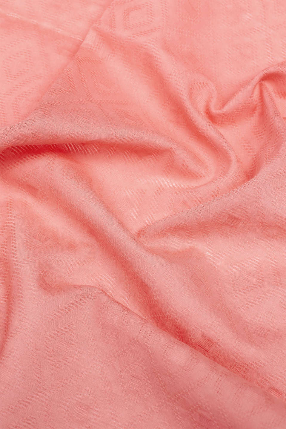 Diamond pattern scarf, 100% cotton, CORAL RED, detail image number 2