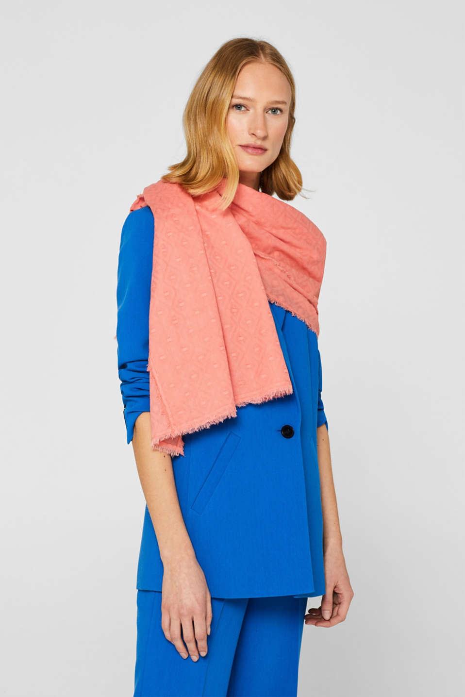 Diamond pattern scarf, 100% cotton, CORAL RED, detail image number 1