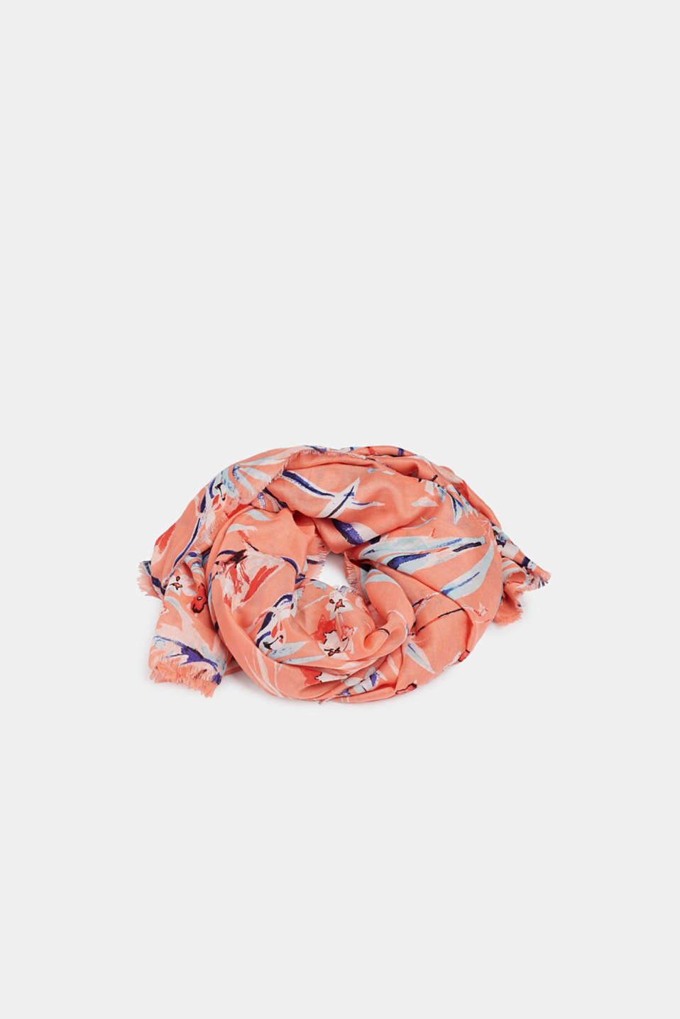 Oversized scarf with a flamingo print, CORAL, detail image number 0