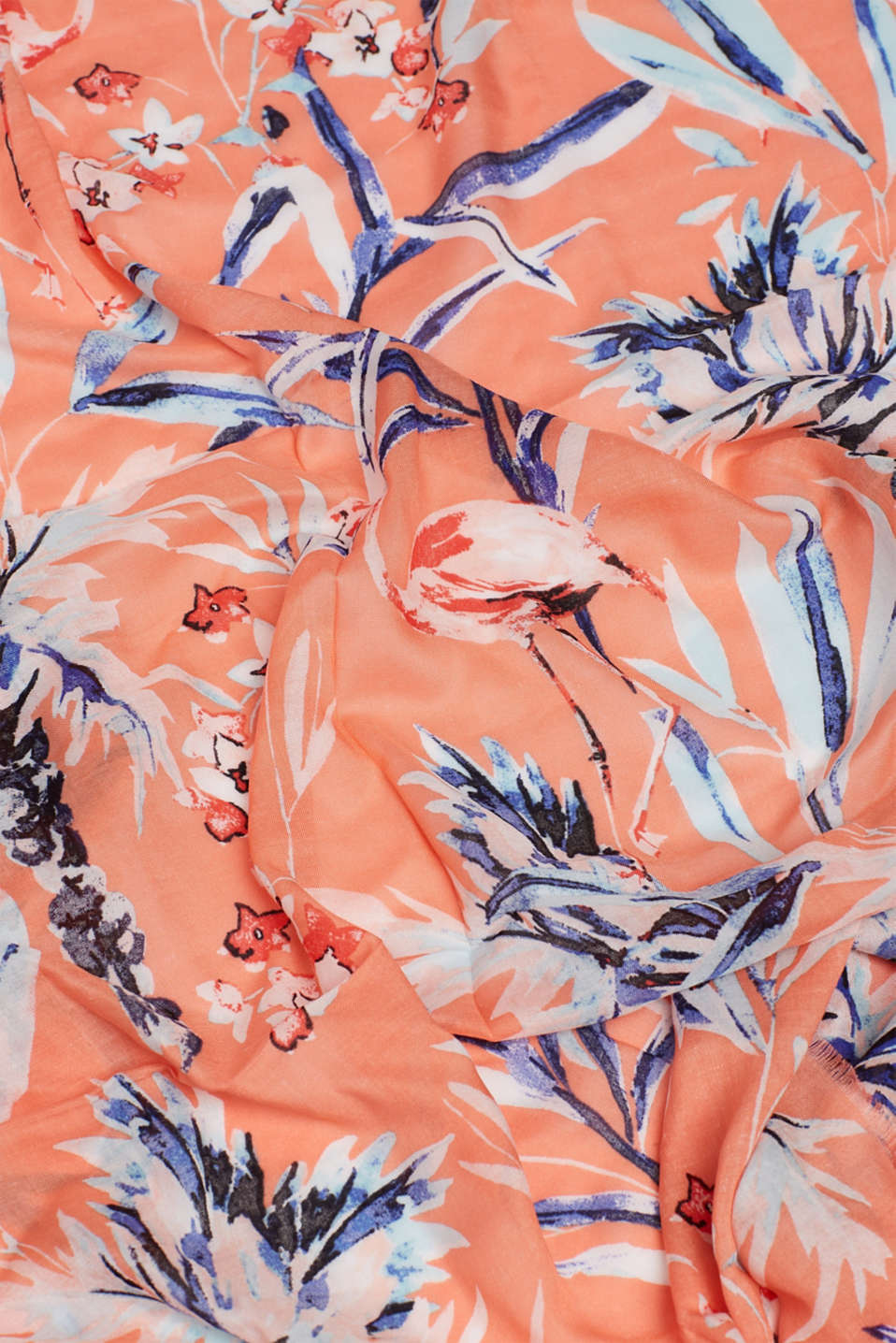Oversized scarf with a flamingo print, CORAL, detail image number 3
