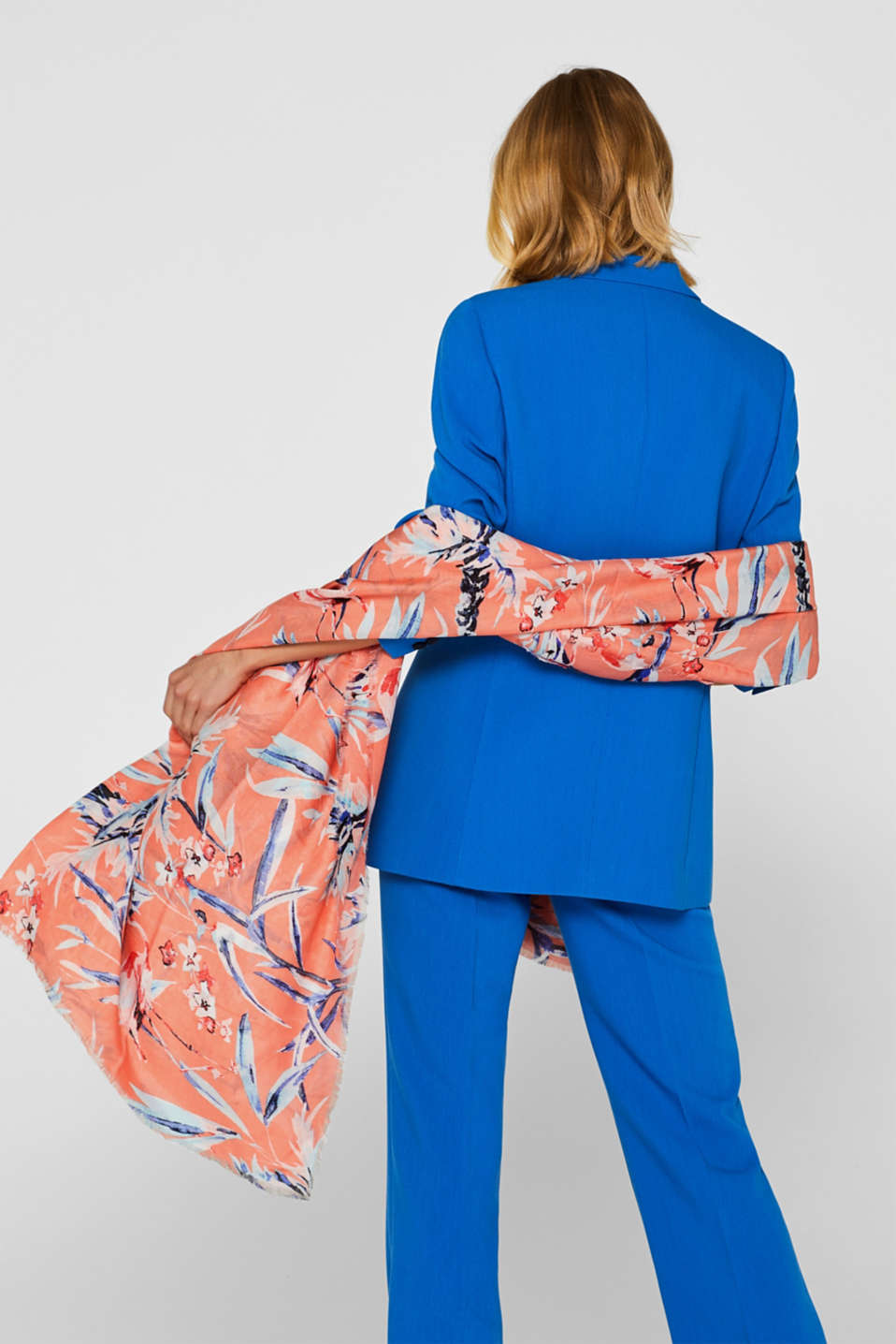 Oversized scarf with a flamingo print, CORAL, detail image number 1