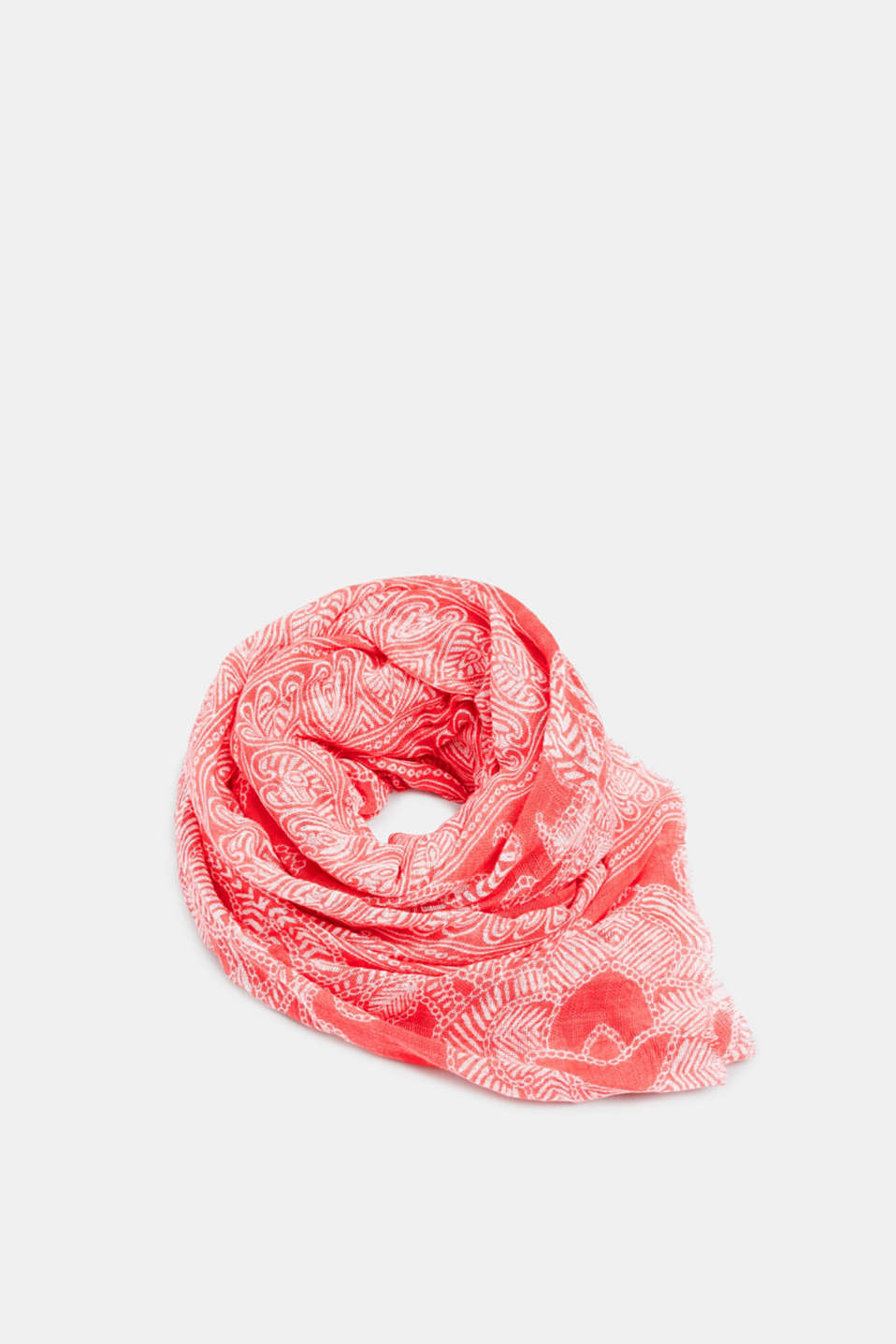 Scarf with a tribal print, 100% cotton, CORAL RED, detail image number 0