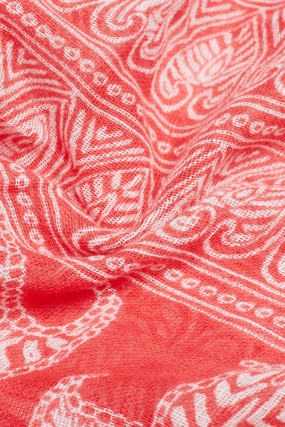 Scarf with a tribal print, 100% cotton, CORAL RED, detail image number 2