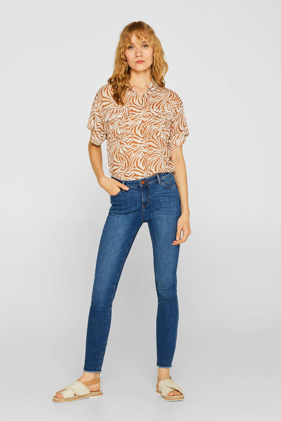 Esprit - Enkellange stretchjeans in een used look, gerecycled