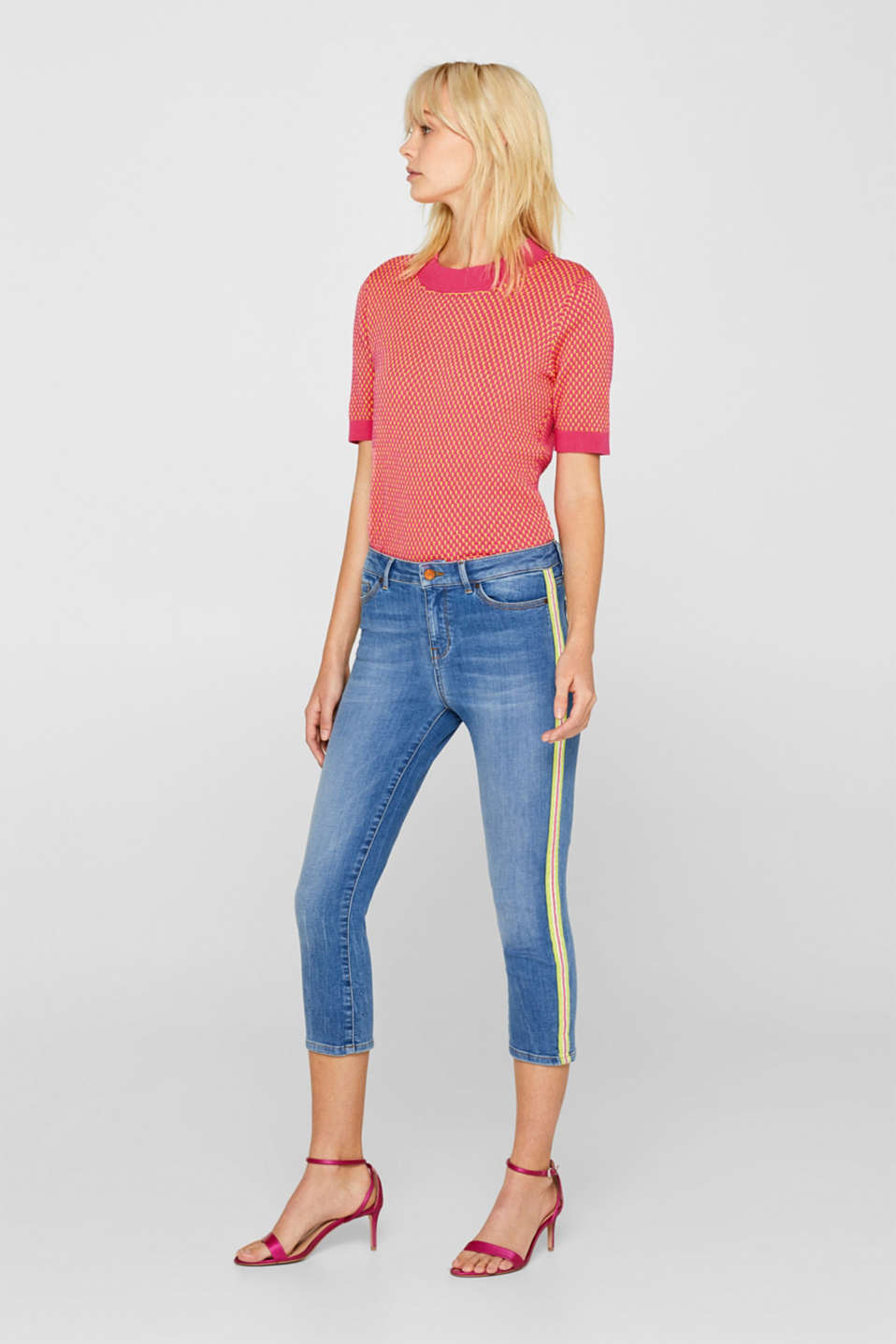 Esprit - Ankle-length stretch jeans with racing stripes