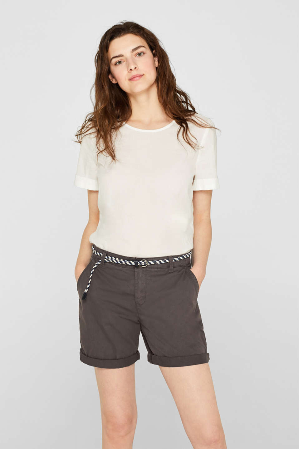 Shorts in a garment-washed look, 100% cotton, DARK GREY, detail image number 0