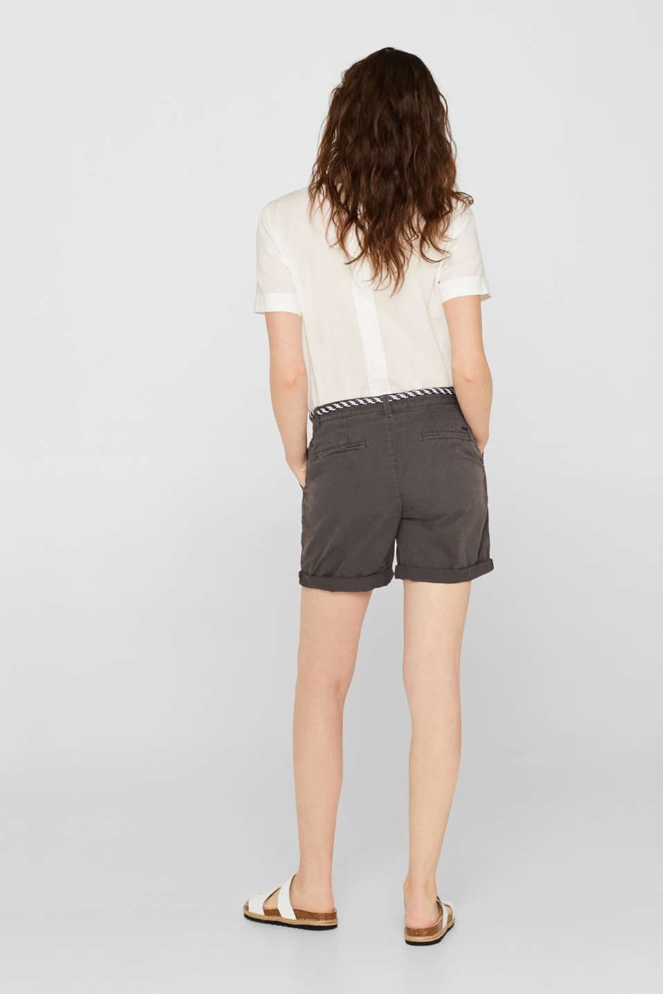 Shorts in a garment-washed look, 100% cotton, DARK GREY, detail image number 3