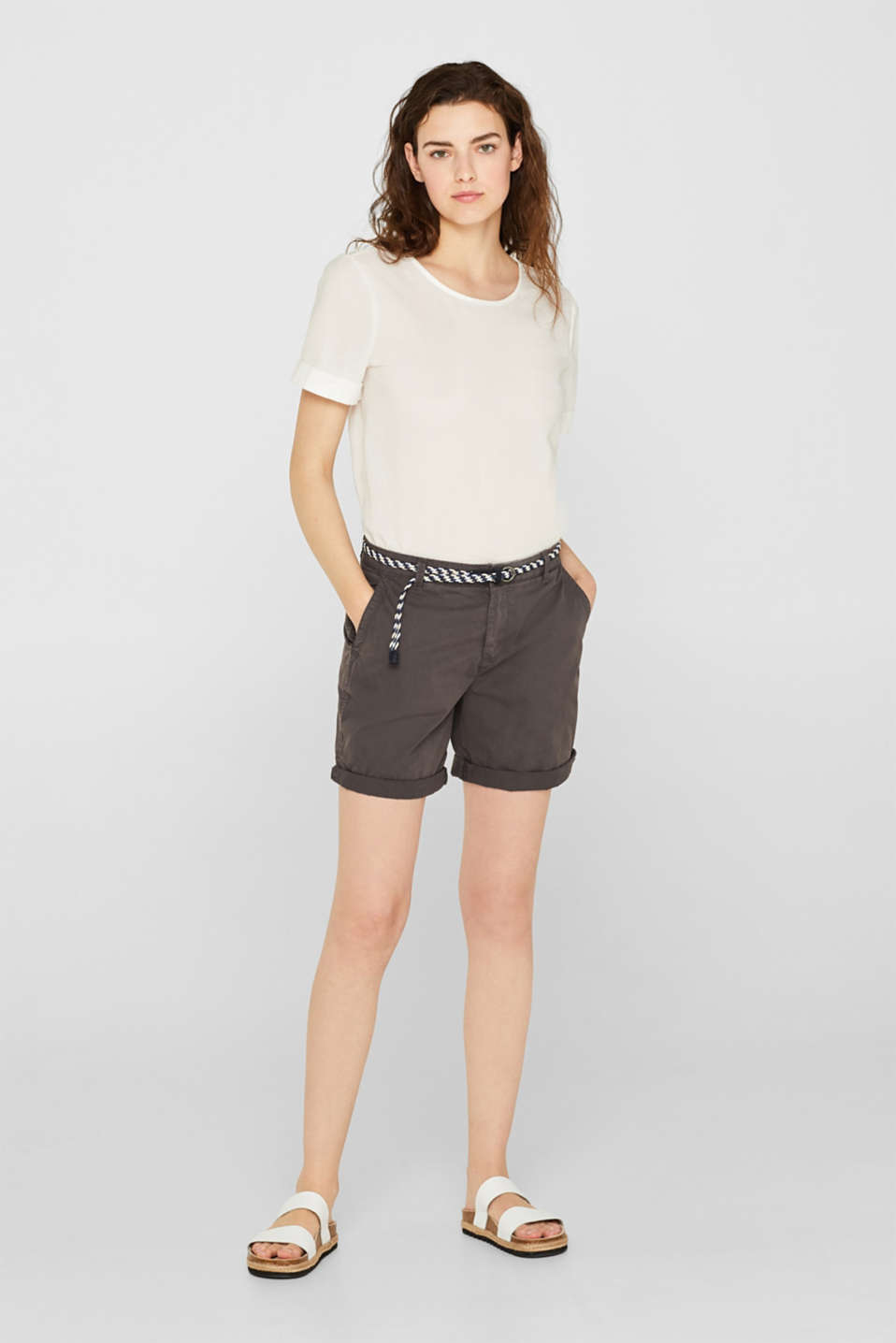 Shorts in a garment-washed look, 100% cotton, DARK GREY, detail image number 1