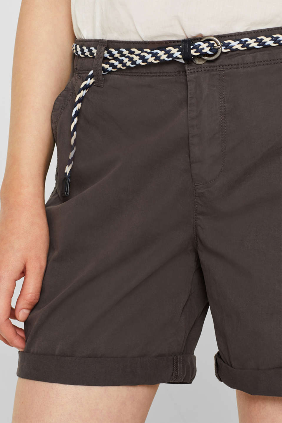 Shorts in a garment-washed look, 100% cotton, DARK GREY, detail image number 2