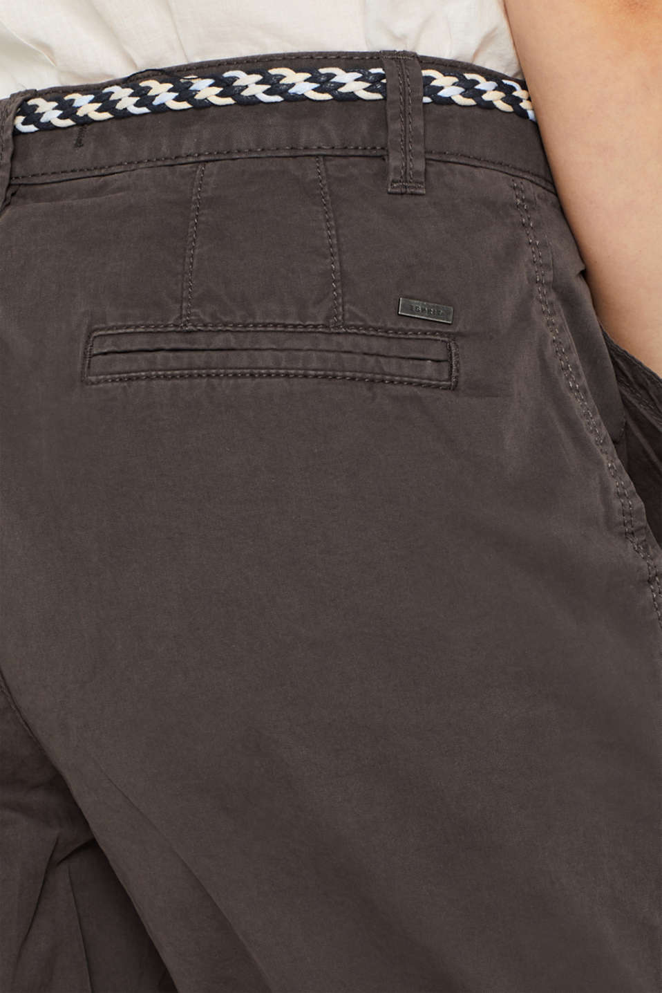 Shorts in a garment-washed look, 100% cotton, DARK GREY, detail image number 5