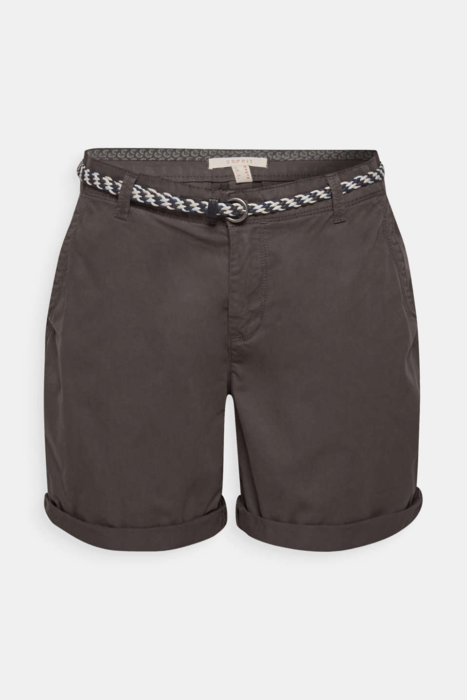Shorts in a garment-washed look, 100% cotton, DARK GREY, detail image number 7