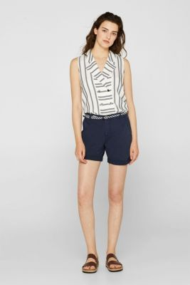 Shorts in a garment-washed look, 100% cotton, NAVY, detail