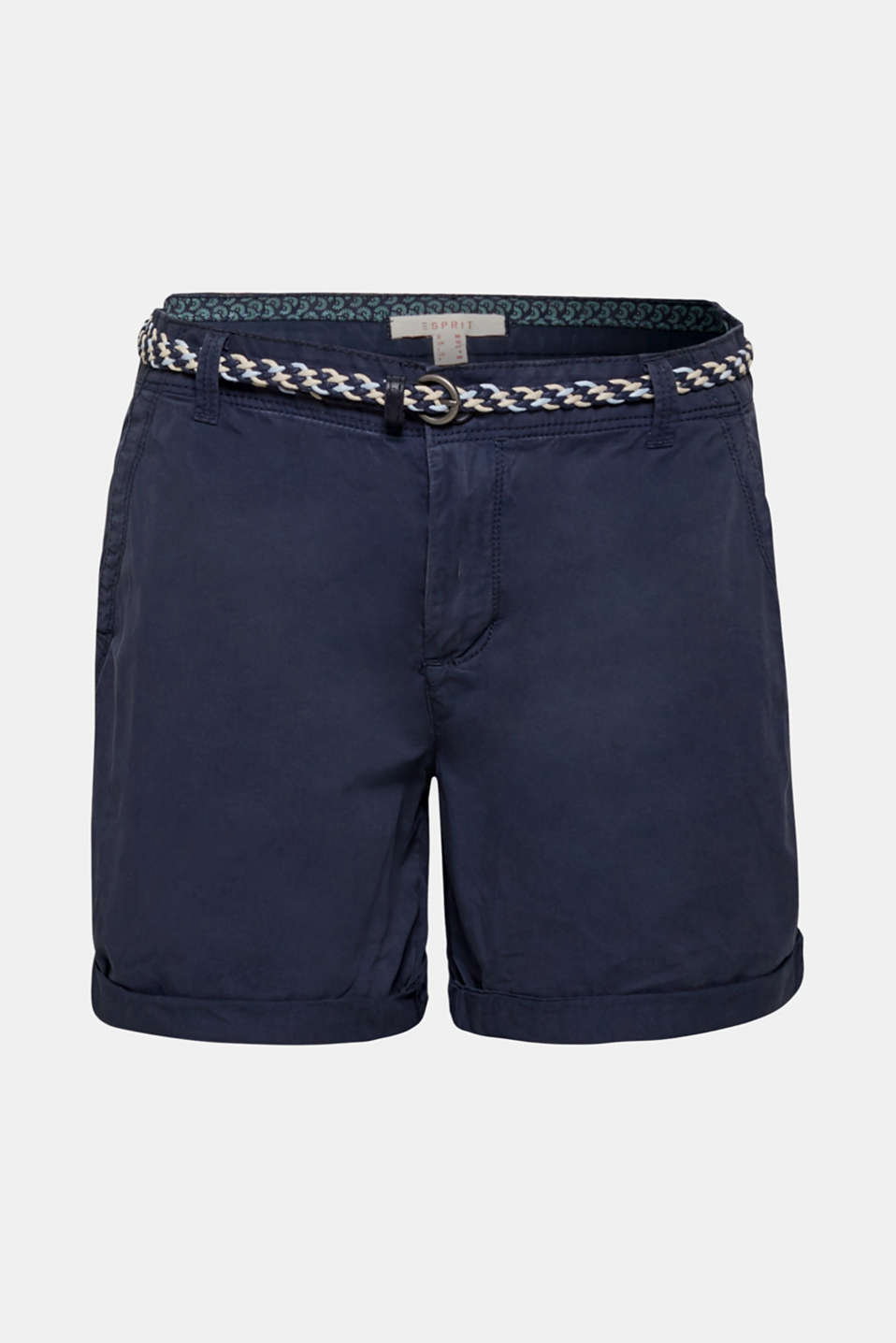 Shorts in a garment-washed look, 100% cotton, NAVY, detail image number 7