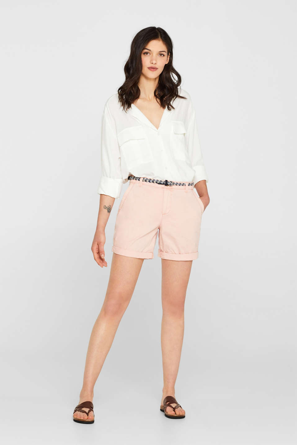 Shorts in a garment-washed look, 100% cotton, LIGHT PINK, detail image number 0