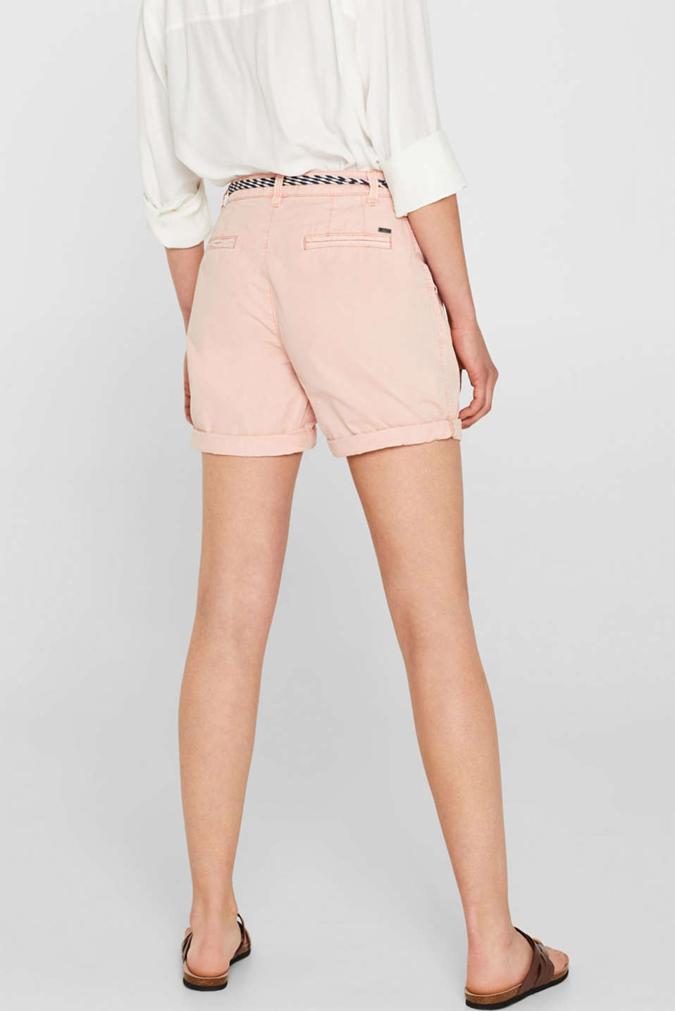 Shorts in a garment-washed look, 100% cotton, LIGHT PINK, detail image number 3