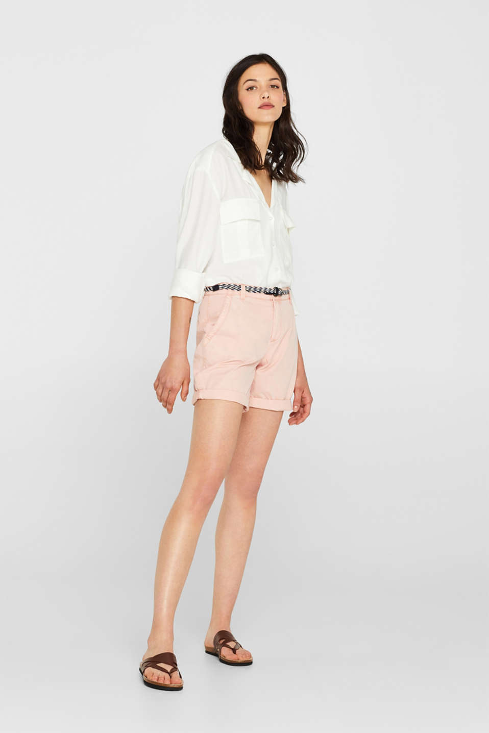 Shorts in a garment-washed look, 100% cotton, LIGHT PINK, detail image number 1