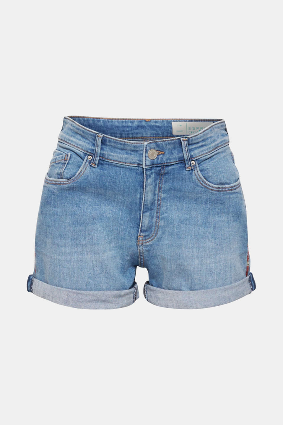 Stretch denim shorts containing organic cotton