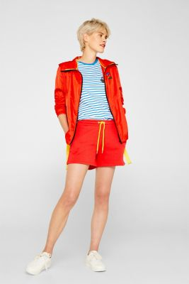 CRAIG & KARL: Women sweatshirt fabric shorts, organic cotton, RED, detail