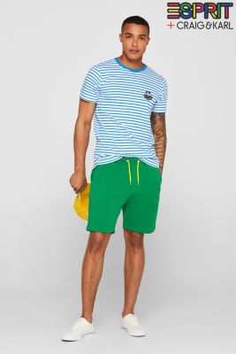 CRAIG & KARL: Men sweatshirt fabric shorts, organic cotton, GREEN, detail