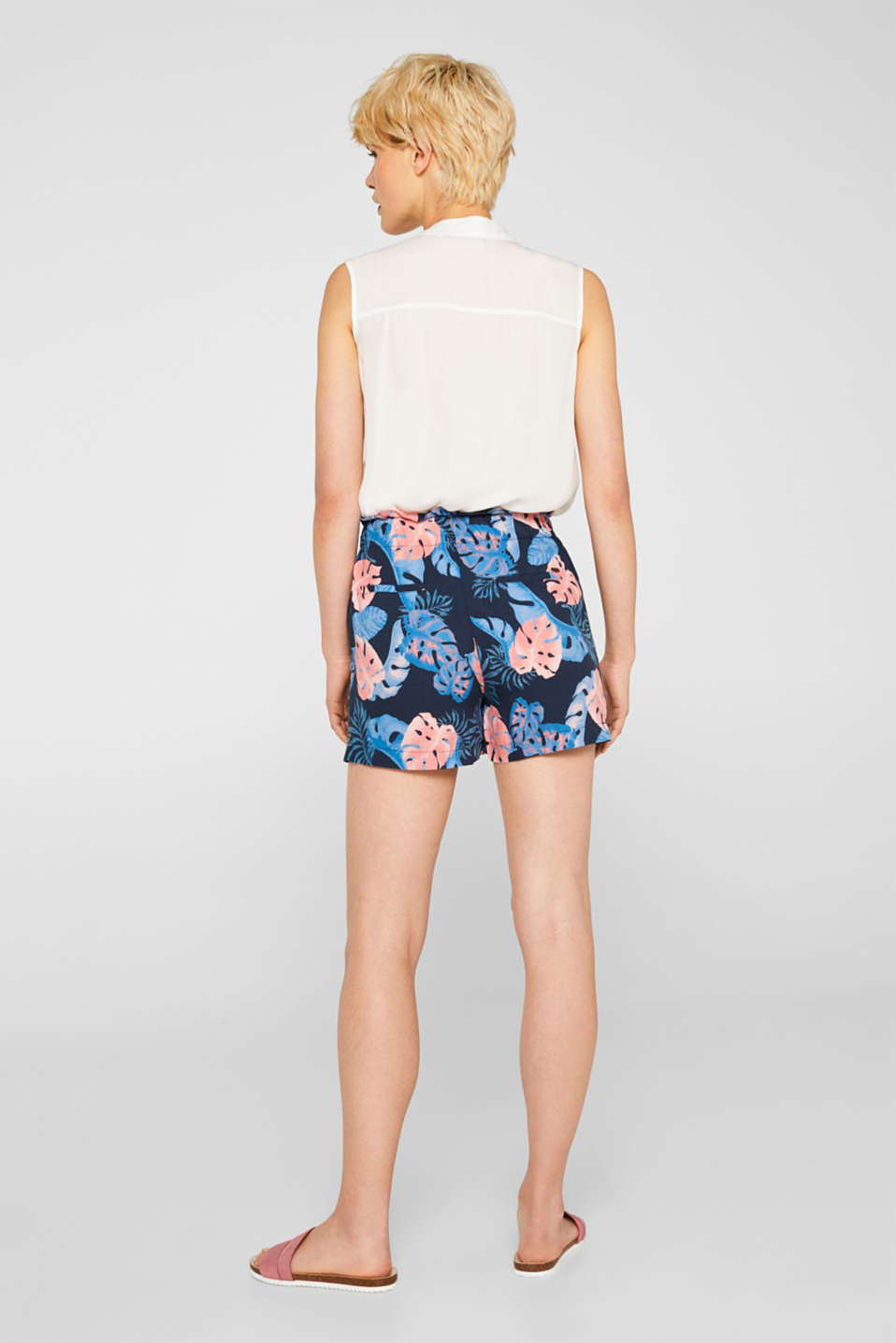 Woven shorts with a print and frilled waistband, NAVY 2, detail image number 3