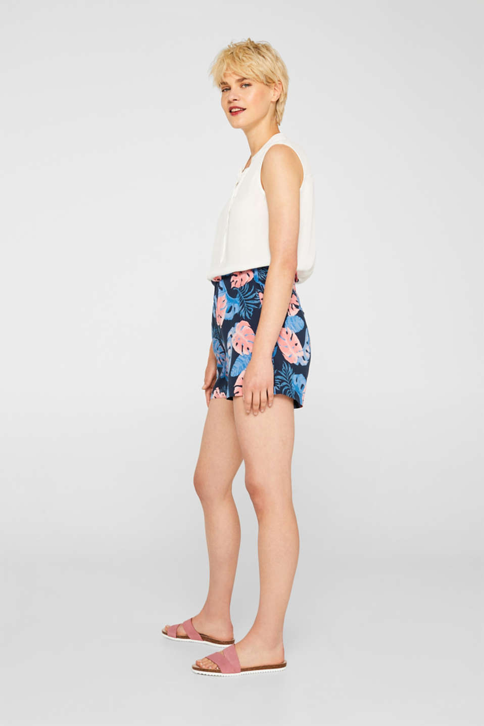 Woven shorts with a print and frilled waistband, NAVY 2, detail image number 1