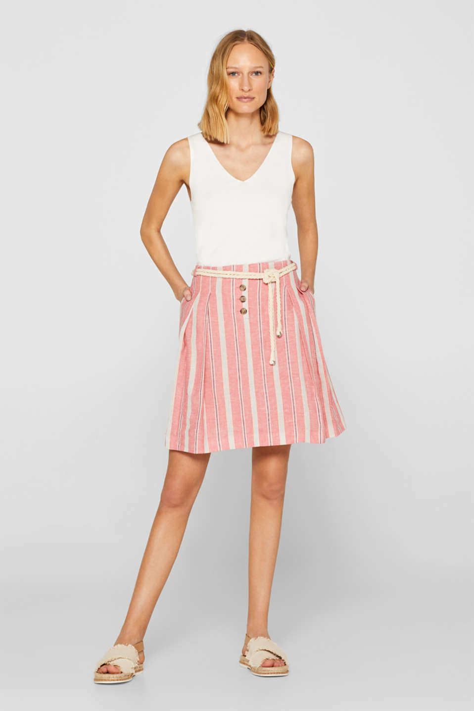 Esprit - Made of blended linen: skirt with waist pleats and a cord belt