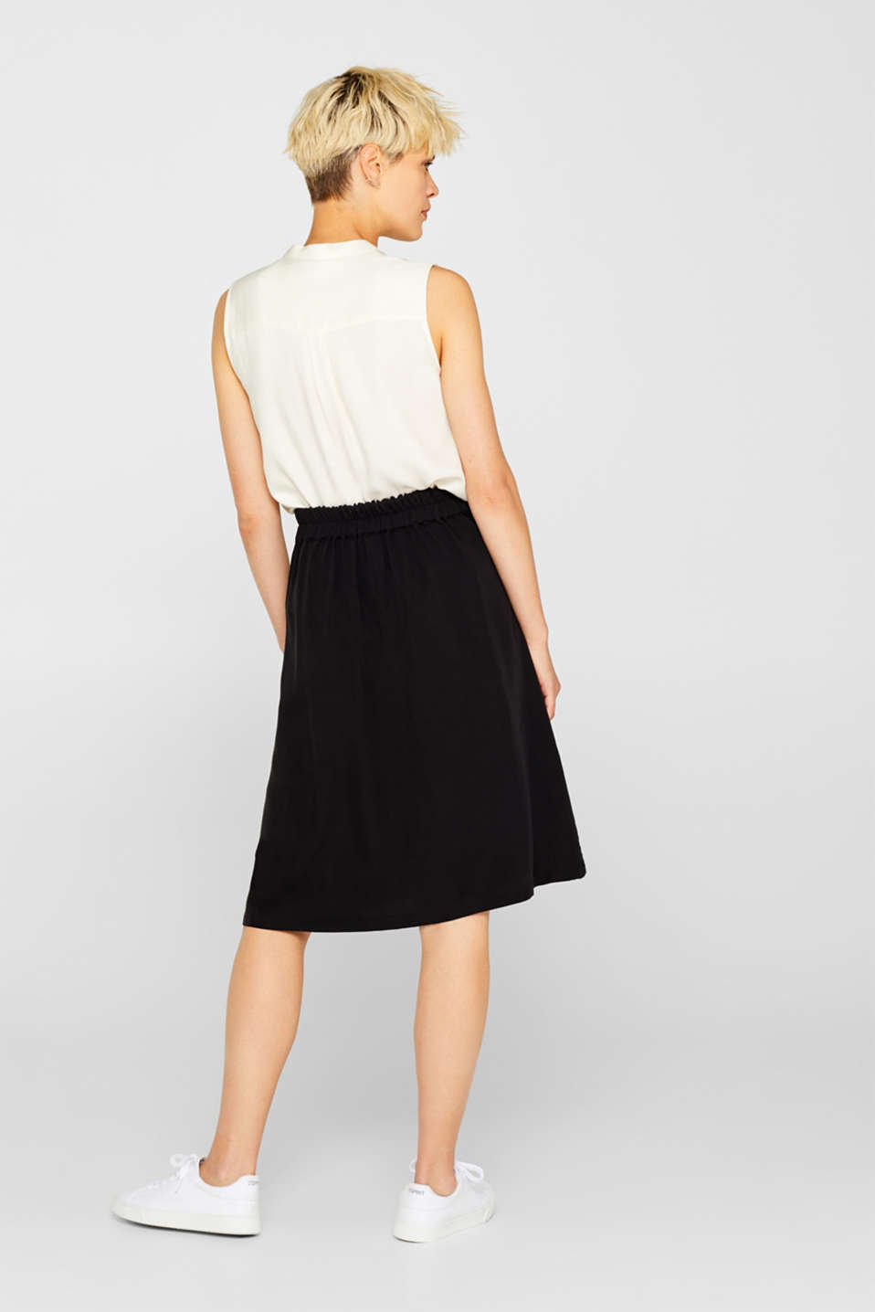A-line skirt with pockets, 100% lyocell, BLACK, detail image number 3