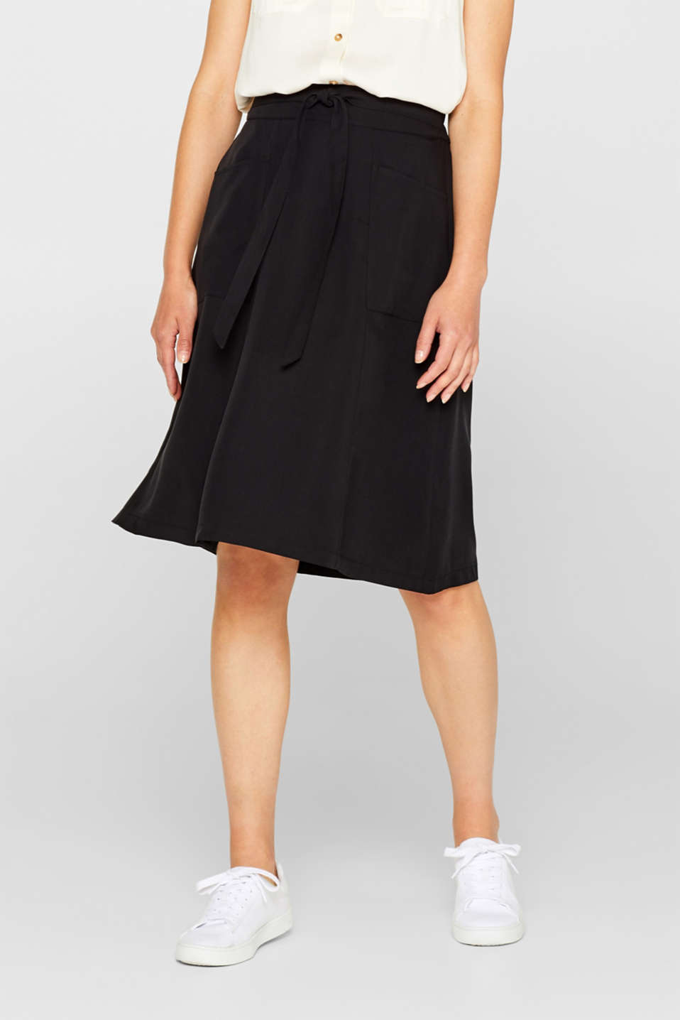 A-line skirt with pockets, 100% lyocell, BLACK, detail image number 5