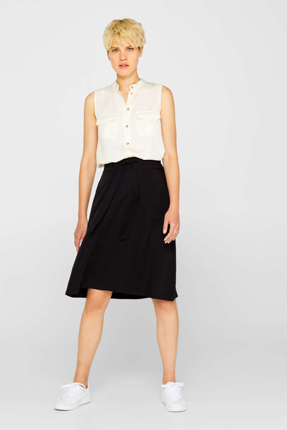 A-line skirt with pockets, 100% lyocell, BLACK, detail image number 1