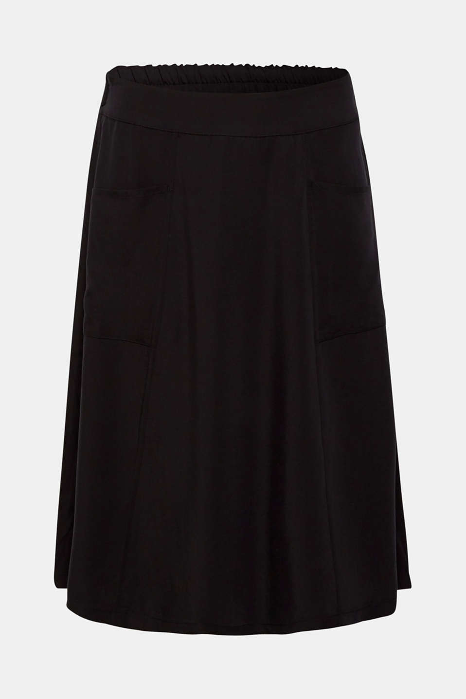 A-line skirt with pockets, 100% lyocell, BLACK, detail image number 6