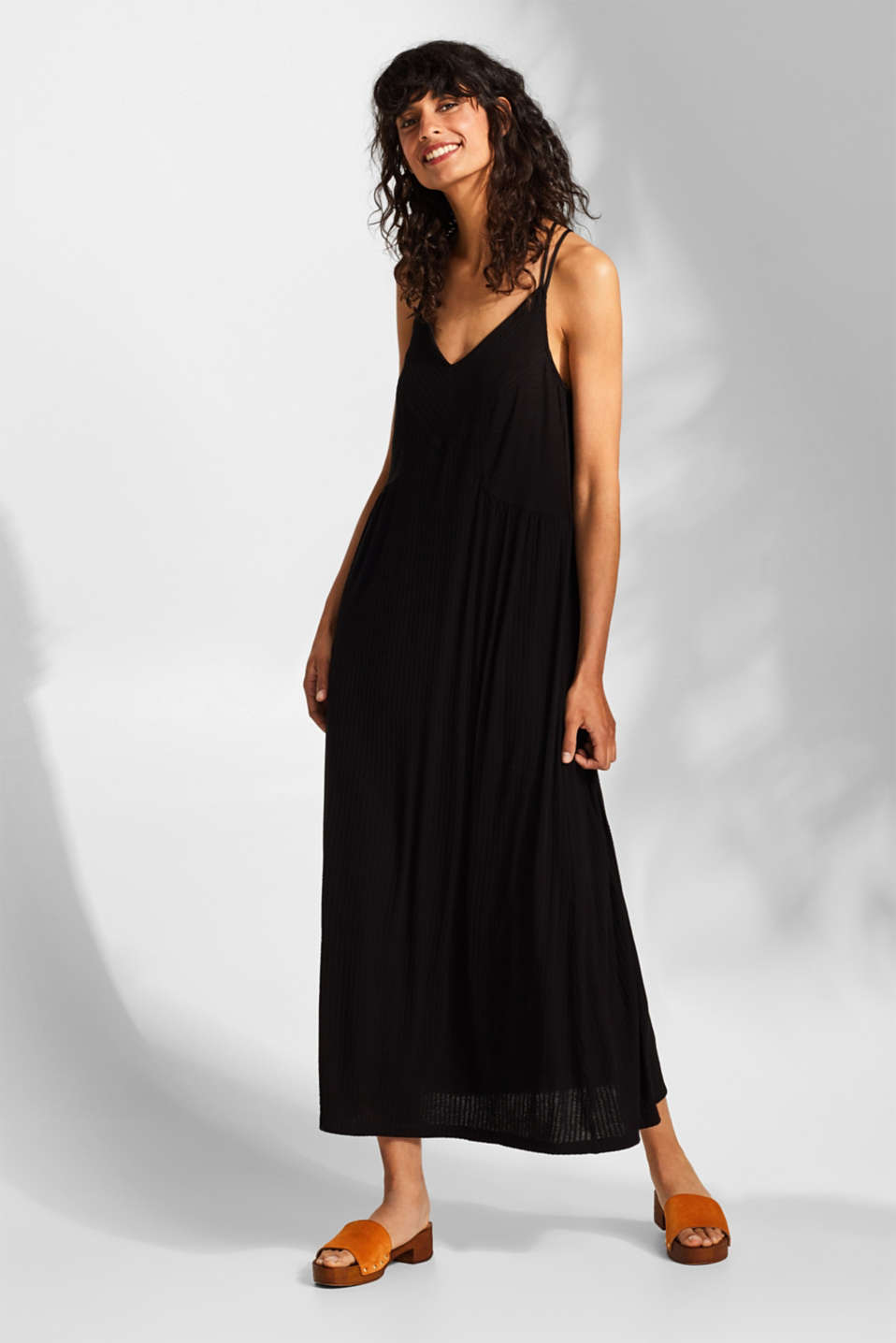 Esprit - Jersey maxi dress with spaghetti straps