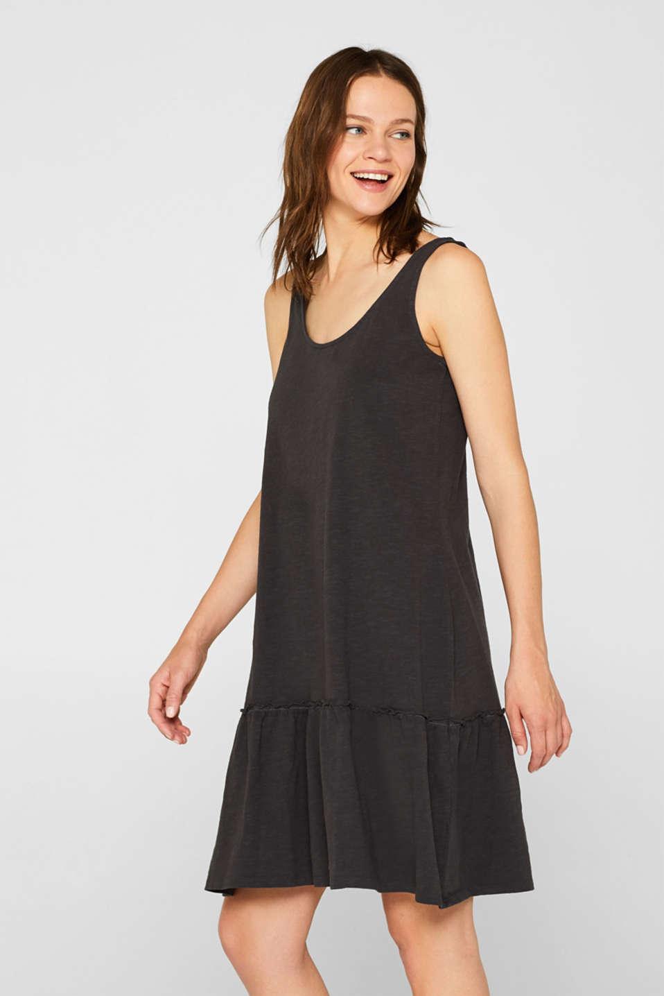 Esprit - Slub-Jersey-Kleid mit Volant-Saum im Online Shop ...