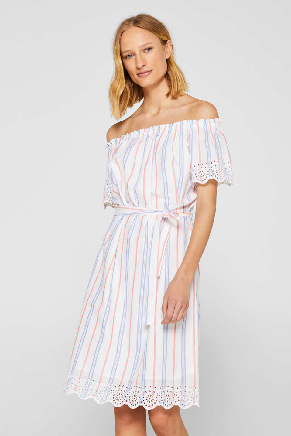 Esprit - Woven off-the-shoulder dress with broderie anglaise